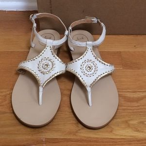 JACK ROGERS 'Maci' Whipstitch Leather Flat Sandals